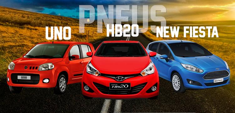 Pneus para os carros Fiat Uno, Hyundai HB20 e Ford Fiesta